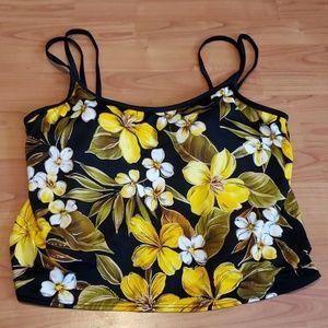 Black yellow floral tankini top plus 3X